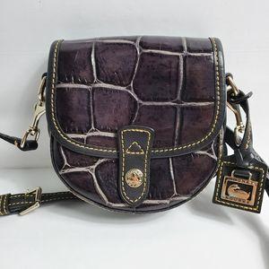 NWE Dooney & Bourke Purple Croc Crossbody Bag